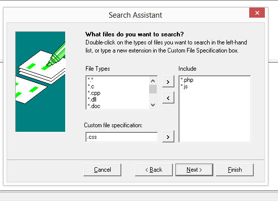 Add file extensions to search.